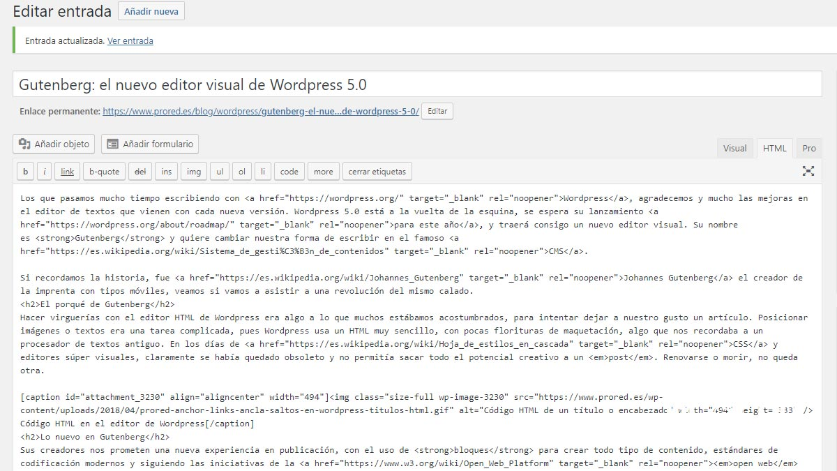 Editando código HTML con WordPress