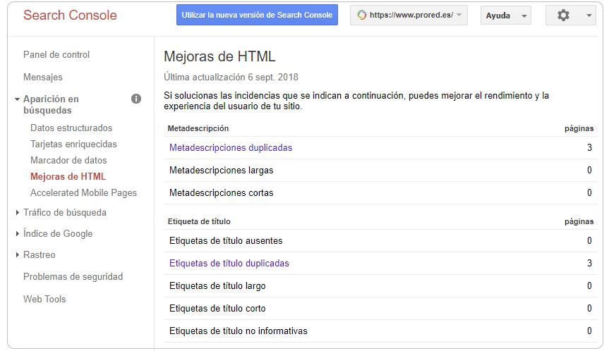 Google Search Console: títulos y descripciones duplicadas